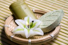 Candle and soap Stock Images