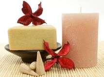 Candle and soap Stock Image
