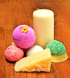 Candle, soap, bath bombs on the wood Royalty Free Stock Image