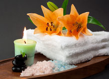 Candle and spa accessories Royalty Free Stock Photo