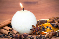 Candle and spices Stock Photography