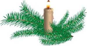 Candle and spruce twigs Royalty Free Stock Photography
