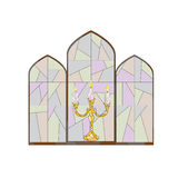 Candle stained glass. Royalty Free Stock Photos