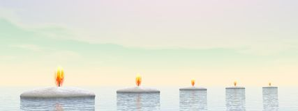 Candle steps - 3D render Royalty Free Stock Images