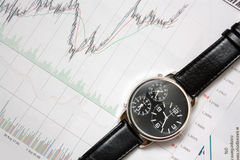 Candle stick chart and watch. Stock Image