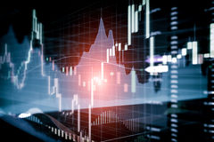 Candle stick graph and bar chart of stock market investment trad Royalty Free Stock Photography