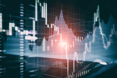 Candle stick graph and bar chart of stock market investment trad Royalty Free Stock Photos