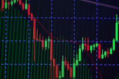 Candle stick graph chart with indicator showing bullish point or Royalty Free Stock Photography