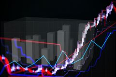 Candle stick graph chart with indicator showing bullish point or Stock Photography