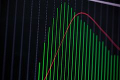 Candle stick graph chart with indicator showing bullish point or Stock Photos
