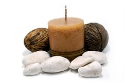 Candle with stones #1 Stock Photos
