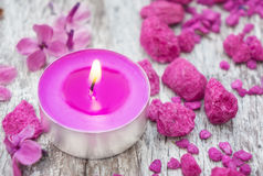 Candle, stones, flowers, spa Stock Images