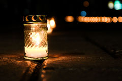 Candle on the street. The light of candle in the street Royalty Free Stock Photos