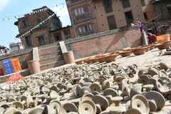 Candle supports  making in Bhaktapur, Nepal. Stock Photo