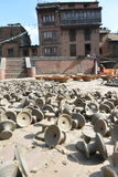 Candle supports  making in bhaktapur, Nepal. Royalty Free Stock Photos