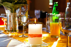 Candle on the table Stock Photo