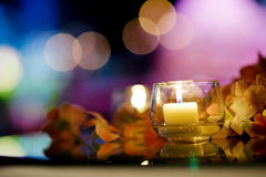 Candle on Table Stock Image