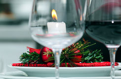 Candle on a table in Christmas Stock Photography
