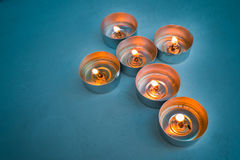 Candle tea lights in Christian crucifix cross formation Stock Photography