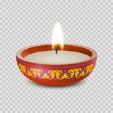 Candle tealight or tea light vector 3D realistic icon burning flame fire. Candle light or tea light flame in ornament bowl. Vector  3D icon of tealight or Stock Photography