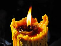 Candle. Of The ordination ceremony to be monk in thai culture tradition with black background Royalty Free Stock Photography