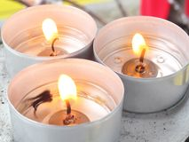 Candle. Three candles burning in a monastery Royalty Free Stock Photography