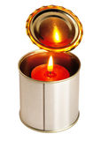 Candle on a tin can. Red candle on a tin can ovr white background Stock Photo