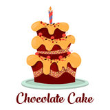 Candle on top of birthday cake with cream. Cake with frosting or glaze and candle on top, cherry on cream. Chocolate pie with icing icon, festive or celebration Stock Photography