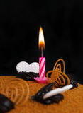 Candle on the torte. stock photography