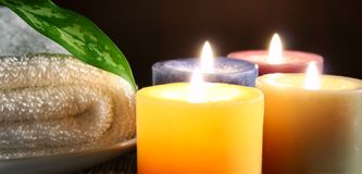 Candle,towel and leaf Stock Image