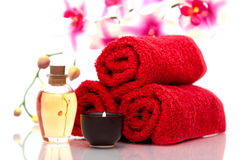 Candle, towels and essential oils Royalty Free Stock Images