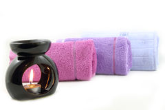 Candle  and towels - spa concept Stock Photography