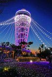 Candle tower. The candle tower with beautiful lighting in Enoshima Royalty Free Stock Image