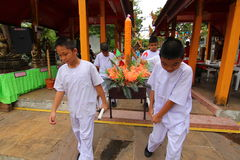 Candle tradition Buddhism in thailand. Tradition school given candle Buddhist Temple royalty free stock photos