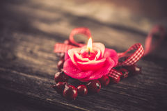 Candle, Valentine's Day decoration Stock Photography