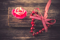 Candle, Valentine's Day decoration Royalty Free Stock Images
