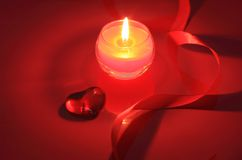 Candle for Valentine's Day, weddings Stock Photos