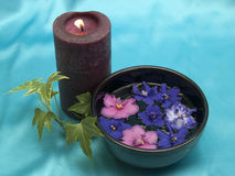 Candle and violets Royalty Free Stock Photos