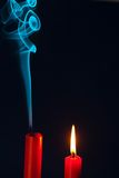 Candle was blown out. The flame of a candle was blown out. symbol of death, dying and past royalty free stock photos