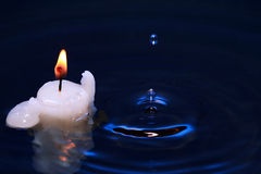 Candle In Water Royalty Free Stock Images
