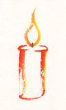 Candle watercolor painting. A watercolor painting on artist paper of a burning candle Stock Image