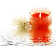Candle and white flower reflecting in water Stock Photos