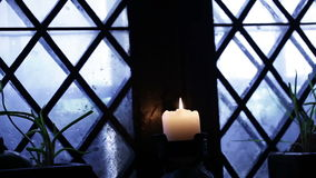 Candle window stock footage
