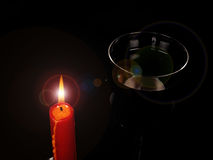 Candle and wine Royalty Free Stock Photos
