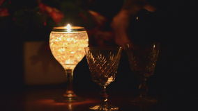 Candle and wine stock footage