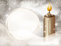 Candle on winter background Stock Photo