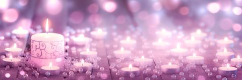 Free Candle With Lace On Wooden Floor With Tea Light Candles And Pearls Stock Photography - 166700712