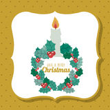 Candle and wreath of Merry Christmas design. Candle and wreath icon. Merry Christmas season decoration figure theme. Colorful design. Vector illustration Stock Photos