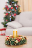 Candle and wreath on table for christmas Stock Photography