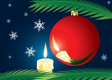 Candle and xmas ball. A christmas card. A vector illustration Royalty Free Stock Image